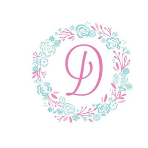 pink 8x8 initial -D - shabby chic rose wreath-pink mint
