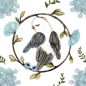 bird& blueflowers