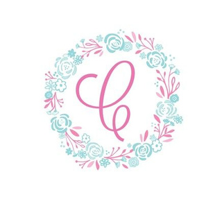 pink 8x8 initial C  shabby chic rose wreath-pink mint