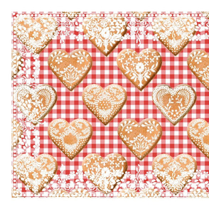 Hjerte Pepparkakor Tea Towel strawberry gingham