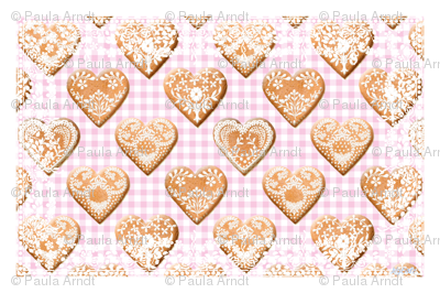 Hjerte Pepparkakor Tea Towel sorbet gingham
