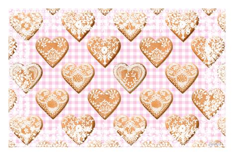 Hjerte Pepparkakor Tea Towel sorbet gingham fabric by lilyoake on Spoonflower - custom fabric