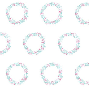 Mint Pink shabby chic rose wreath - 7 LARGE