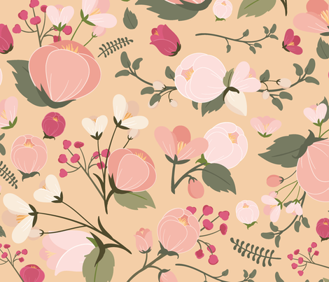 Victoria Pink Yellow Small Flowers Wallpaper American Decals