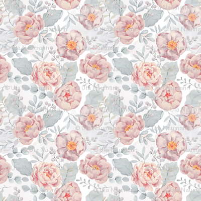 """18"""" pink rose blush florals and gray leaves pastel pink"""