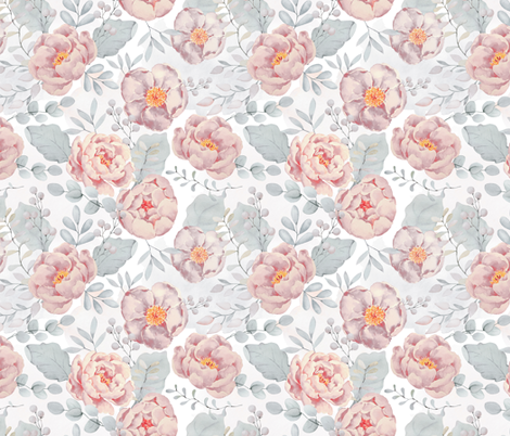 """18"""" pink rose blush florals and gray leaves pastel pink  fabric by utart on Spoonflower - custom fabric"""