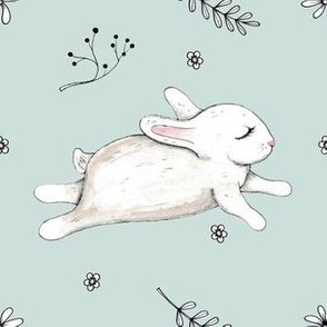Bunny running mint Version 2  (with bunny 2 inches high :)
