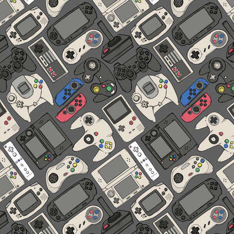 Video Game Controllers in True Colors fabric by spookishdelight on Spoonflower - custom fabric