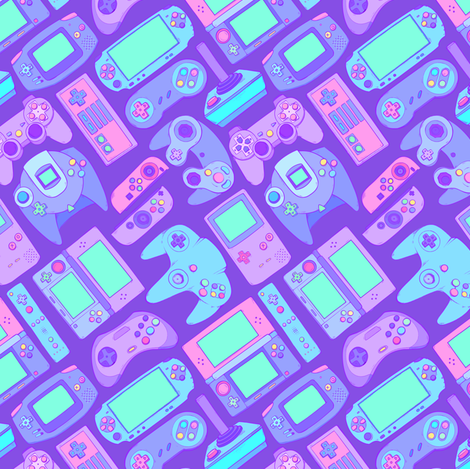 Video Game Controllers in Cool Colors fabric by spookishdelight on Spoonflower - custom fabric