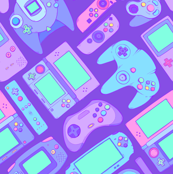 Video Game Controllers in Cool Colors