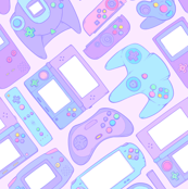 Video Game Controllers in Pastel Colors