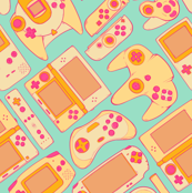 Video Game Controllers in Retro Colors