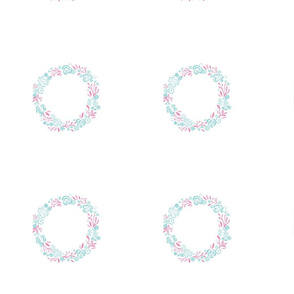 pink mint wreath roses - 4 inch on 8x8