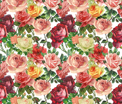 Colorful Vintage Roses - Large 18in fabric by utart on Spoonflower - custom fabric