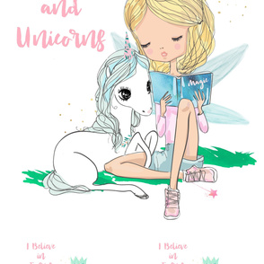 "42""x72"" 1 Blanket and 2 - 18"" Pillows Believe in Fairies and Unicorns"
