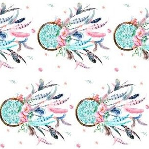"3"" Pink and Aqua Dream Catcher 90 degrees"