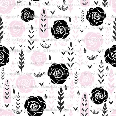 Floral Black Rose Vector Pattern