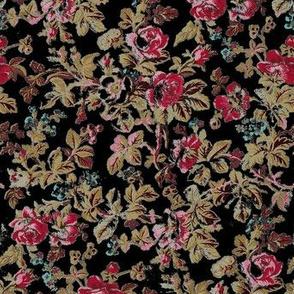 French Rose Tapestry Black
