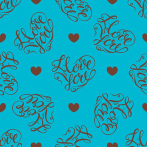 hearts on turquoise background.Stylish lettering in the shape of a heart.