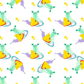Mouse with cheese. Seamless pattern. Cartoon-style.