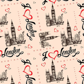 I love London. England.  Lettering. Heart. Big Ben. Sketch