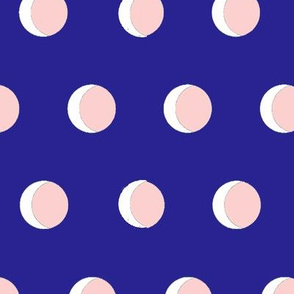cresent moons polk dots blue pink