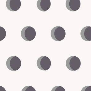 cresent moons polk dots white grey