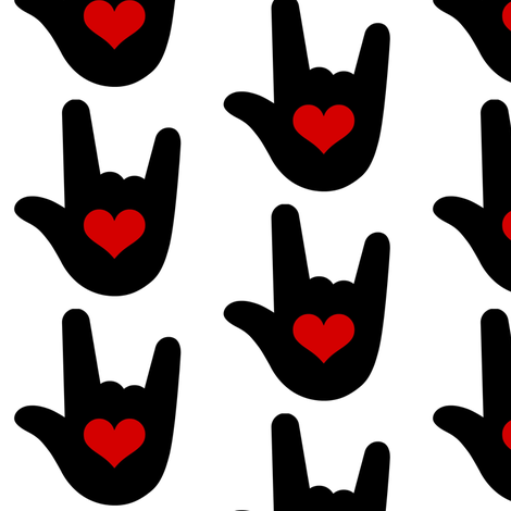 I Love You Sign Language ASL fabric by sunshineandspoons on Spoonflower - custom fabric