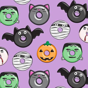 halloween donut medley - light purple - monsters pumpkin frankenstein black cat Dracula