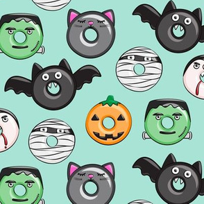 halloween donut medley - teal - monsters pumpkin frankenstein black cat Dracula