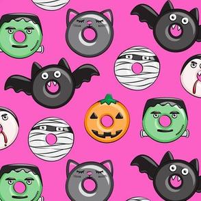 halloween donut medley - pink - monsters pumpkin frankenstein black cat Dracula