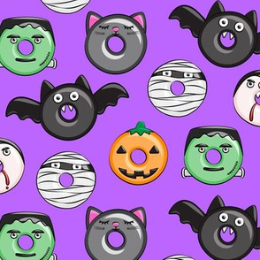 halloween donut medley - purple - monsters pumpkin frankenstein black cat Dracula