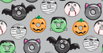 halloween donut medley - grey - monsters pumpkin frankenstein black cat Dracula