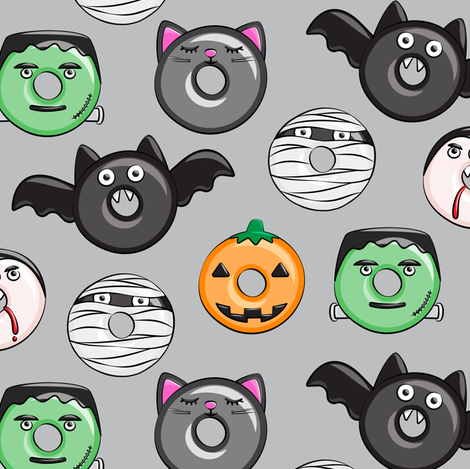 halloween donut medley - grey - monsters pumpkin frankenstein black cat Dracula  fabric by littlearrowdesign on Spoonflower - custom fabric