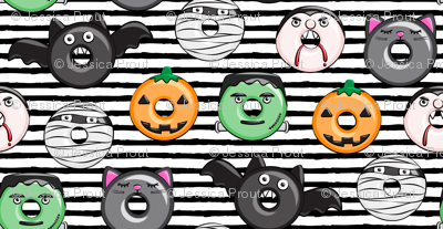 halloween donut medley - black stripes - monsters pumpkin frankenstein black cat Dracula