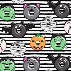 halloween donut medley - black stripes - monsters pumpkin frankenstein black cat Dracula