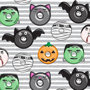 halloween donut medley - grey stripes - monsters pumpkin frankenstein black cat Dracula