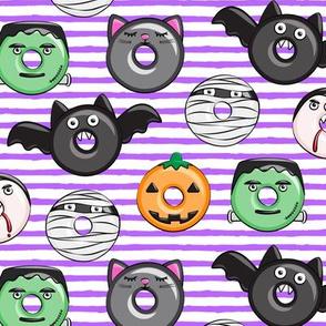 halloween donut medley - purple stripes - monsters pumpkin frankenstein black cat Dracula