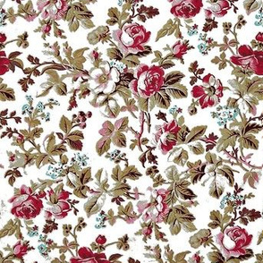 French Rose Tapestry White