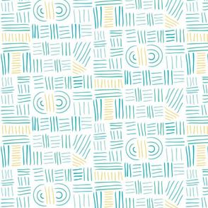 Hand Drawn Geometric - Teal and Yellow