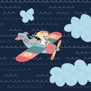 Nomi & Brave Fly an Airplane - navy background