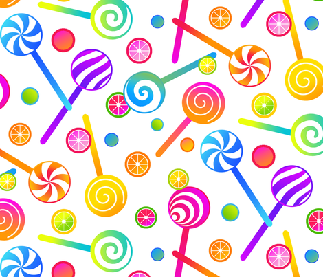 Lollipops and Fruit Candies fabric by ileneavery on Spoonflower - custom fabric