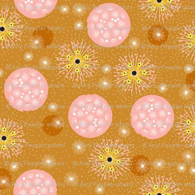 Poof!* (Gold Marilyn) || dandelion dandelions flower flowers floral garden summer circles organic stars star starburst sun sunshine coral