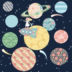 Nomi & Brave Solar System - navy background