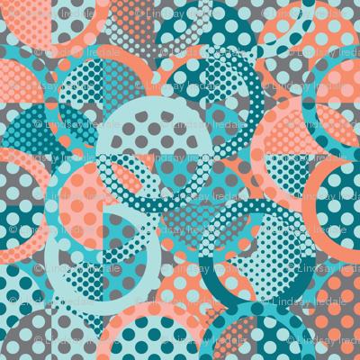 circle circle dot dot in peach and teal