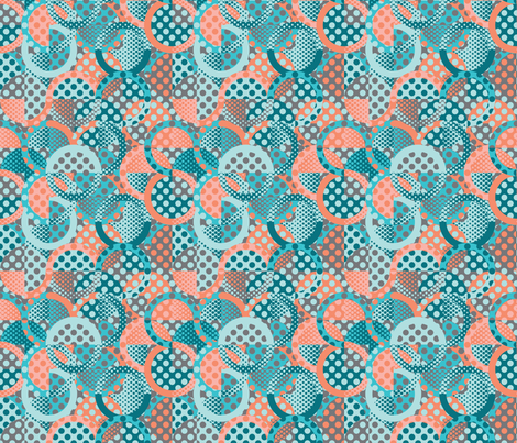 circle circle dot dot in peach and teal fabric by groundnut_apiary on Spoonflower - custom fabric