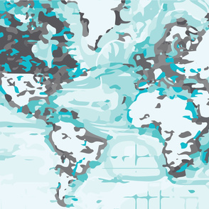 black and aqua map changing pad cover