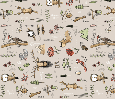 Nature Study - with Elk! - sideways fabric by mulberry_tree on Spoonflower - custom fabric