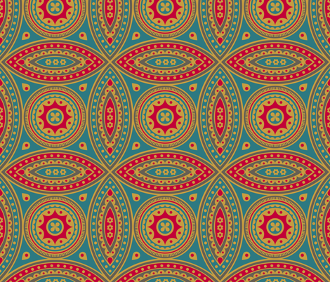 Wanderer in red and teal fabric by chris_jorge on Spoonflower - custom fabric