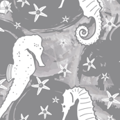 White Seahorse and Starfish on Gray